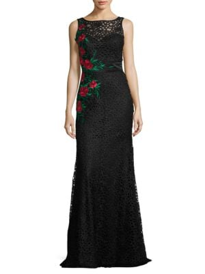 Floral Embroidered Illusion Gown by M By Mac Duggal