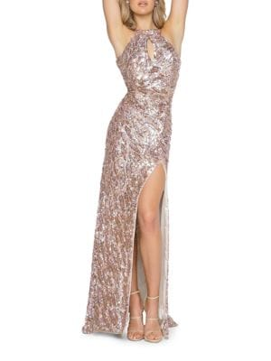 Sequined Bodycon Halter Gown by M By Mac Duggal