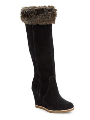 Photo of Tatum Suede and Faux Fur Knee-High Boots by Splendid - shop Splendid shoes sales