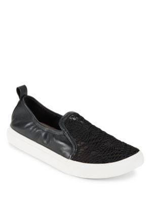 Leather and Lace Slip-On Sneakers by Avec Les Filles
