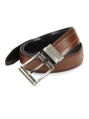 Faux Leather Reversible Belt by Black Brown