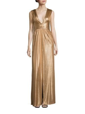 Wrap-Tie Jersey Gown by Halston Heritage