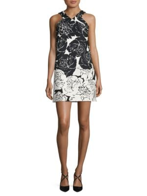 Positive Negative Floral Halter Dress by Taylor