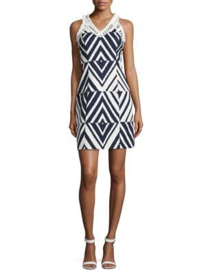 Fringe Trimmed Jacquard Sheath Dress by Taylor
