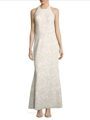 Halterneck Jacquard Gown by Js Collections