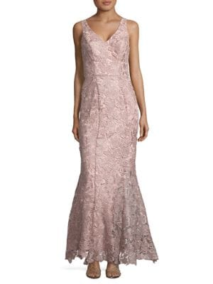 Sleeveless Floral-Lace Gown by Js Collections