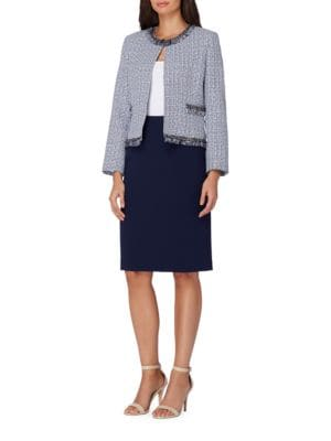 Traditional-Fit Textured Skirt Suit by Tahari Arthur S. Levine