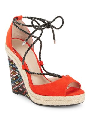Boston Ankle Tie Wedge Sandals by Charles by Charles David