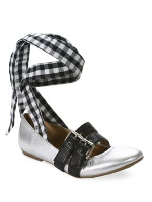 Sari Gingham Lace-Up...