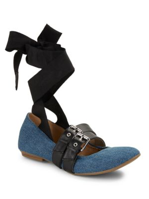 Sari Denim Lace up Ballerina...