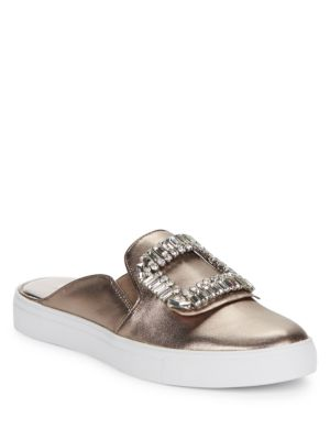 Embellished Leather Slider Sneakers by Karl Lagerfeld Paris