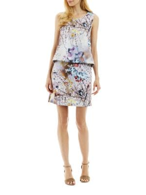Floral Tie Back Popover Dress by Nicole Miller New York