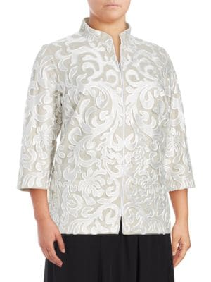 Textured Lace & Mesh Jacket by Alex Evenings