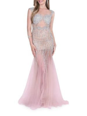 Beaded Illusion Gown...