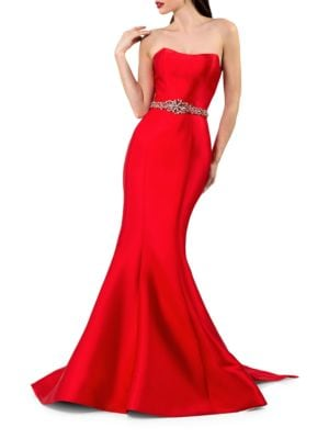 Waist-Accent Back Bow Mermaid Gown by Glamour by Terani Couture