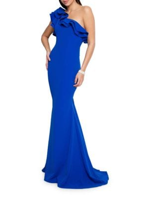 One-Shoulder Ruffled Gown by Glamour by Terani Couture