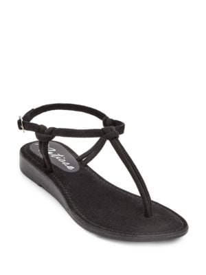 Effie Simple Suede T-Strap Sandals by Matisse
