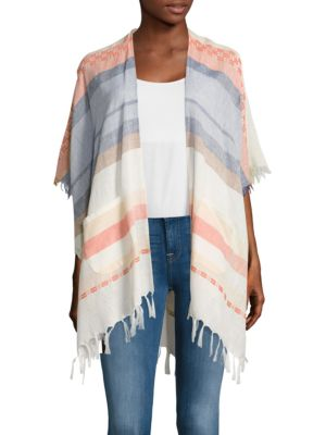 Striped Open Front Cover Up 500086883699