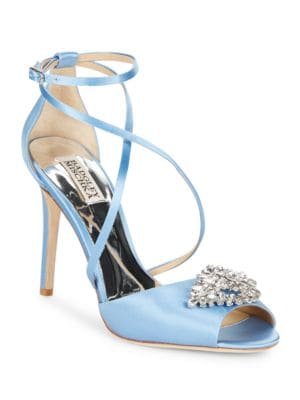 Tatum Satin Stiletto Heel Sandals by Badgley Mischka