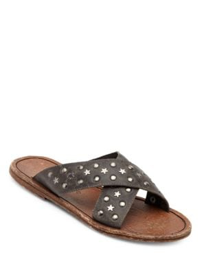 Lefty Criss-Cross Leather Slide Sandals by Matisse