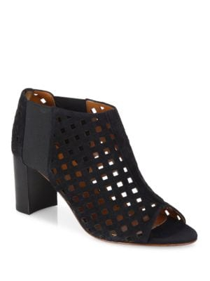 Shari Perforated Suede Open-Toe Booties by Aquatalia