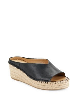 Pine Leather Espadrille Slides by Franco Sarto