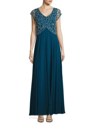 V-Neck Embellished Gown by J Kara