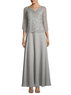 Sequined Popover Gown by J Kara