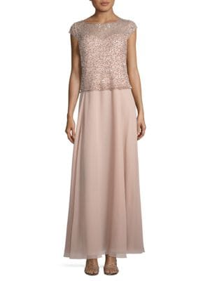 Beaded Ankle-Length Dress by J Kara
