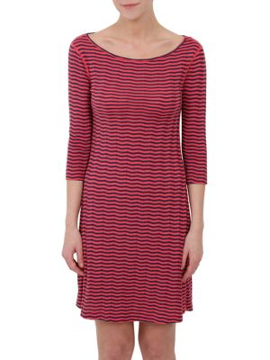 Striped Three-Quarter Sleeve Dress by Three Dots
