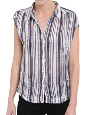 Striped Cotton Button-Down Shirt by Three Dots