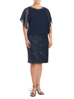 Plus Embellished Blouson Dress by J Kara