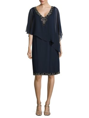 Plus Embellished Overlay Dress by J Kara