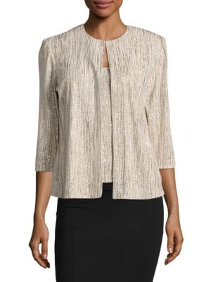 Three-Quarter Sleeve Jewelneck Jacket by Alex Evenings