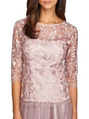 Scalloped Rose Lace Top by Alex Evenings