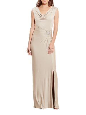 Metallic Cowlneck Gown by Lauren Ralph Lauren