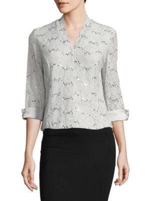 Evening Frost Embellished Lace Top by Alex Evenings