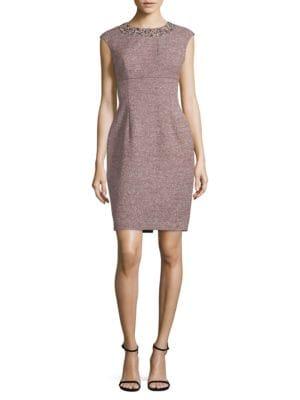 Jewelneck Textured Dress by Eliza J