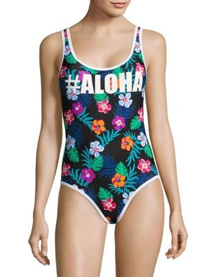Aloha Tropical Print One-Piece Swimsuit by Design Lab Lord & Taylor