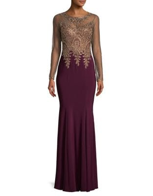 Mesh Gold Embroidery Gown by Xscape