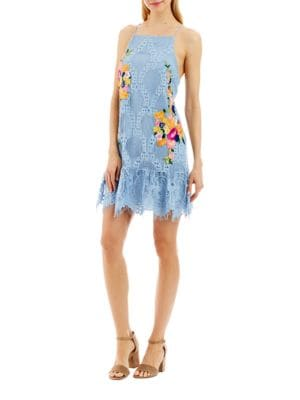 Embroidered Halterneck Dress by Nicole Miller New York