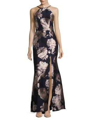 Rose Printed Halter Gown by Xscape