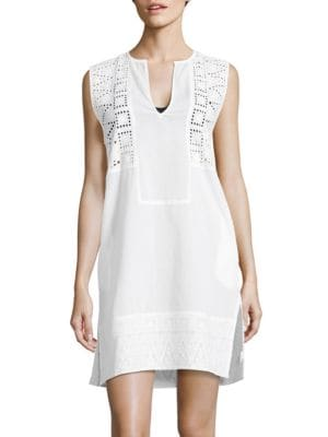 Sleeveless Eyelet Accented Swim Cover-Up by Echo