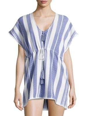Striped Cotton Cover-Up Poncho by Echo