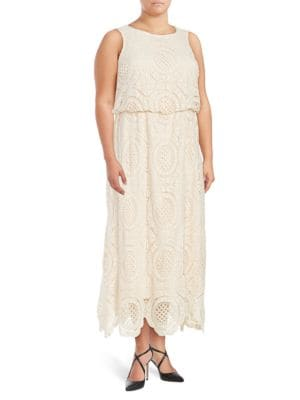 Plus Crochet-Overlay Blouson Gown by Eliza J