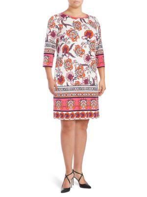 Plus Printed Shift Dress by Eliza J