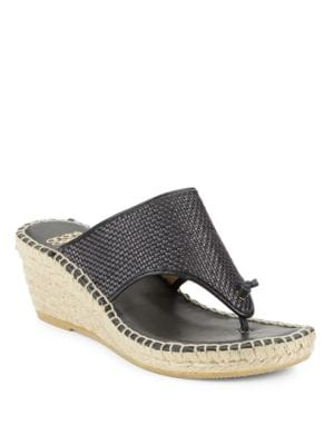 Addie Woven Leather Espadrille Wedge Sandals by Andre Assous