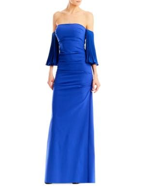 Techy Crepe Pleated-Sleeve Ruched Gown by Nicole Miller