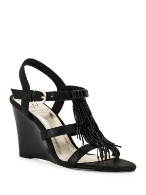 Adair Beaded Fringe Wedge Sandals by Adrianna Papell