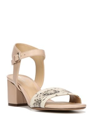 Caitlyn Snake Print Leather Block Sandals by Naturalizer